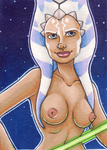 Ahsoka Tano Pinup ACEO Commission by CrystallineColey