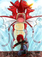 Silver and the red Gyarados by Garkarios