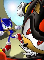 Sonic vs Shadow Colored by RadiantRagnarok