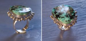 Turquoise Flower Ring by SoulStoneDesigns
