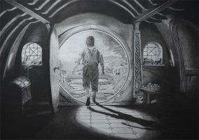 Hobbit in Charcoal by DJPrior