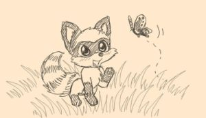 Little Raccoon and Butterfly by tommychan