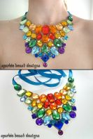 Rainbow Rhinestone Illusion Bib Necklace by Natalie526