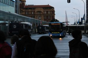 Buses Waiting For Lights by agreenbattery