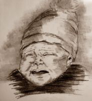 Crying baby sketch by CpointSpoint