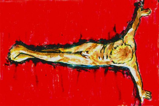 Torso on Red Satin by ChangingMale
