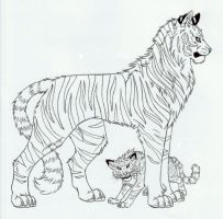 Lineart ++ Tigers ++ by marikimaru