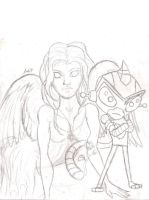 amber and Firius by speckledmindphoenix
