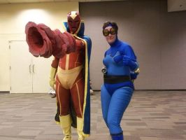 red tornado and blue beetle combo by metal-otaku