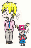 Sanji and Chopper Colored Doddle by misterycai