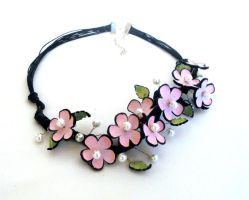 Cherry blossom flowers leather branch necklace by julishland