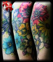 flower quarter sleeve by MattieMacabre
