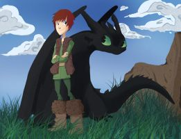 Hiccup and Toothless by shadowtoon