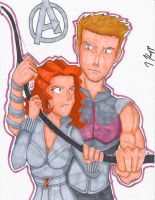 Con Sketch: Hawkeye and Black Widow by KnoppGraphics