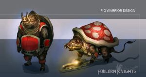 Pig Warrior Character Design by Brollonks