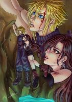 Project FF7 moments (2) : Cloud holding onto Tifa by CameDorea