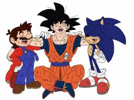 Goku, Mario and Sonic laughing (battle scratches) by delvallejoel