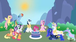 Commission: Party in Pony Paradise Wallpaper by x6tr2ni