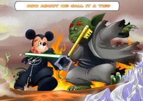 King Mickey vs Yoda by ArcaneAdvent