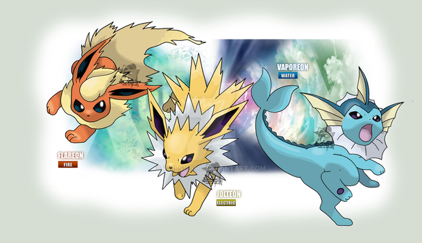 Water, Electric and Fire Type Eeveelutions by Tails19950