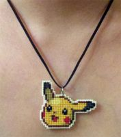 Pikachu stitched necklace by starrley