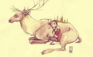 Reindeer in the Woods by Russalad
