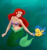 Ariel and Flounder by Rini-Bunny