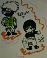 Kakashi and Sai Chibi Art by KattheHatter18