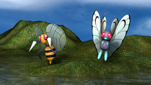 Beedrill and Butterfree POKEM. by bogeymankurt