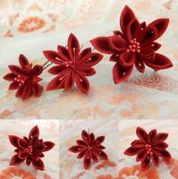Red starry night kanzashi set by elblack