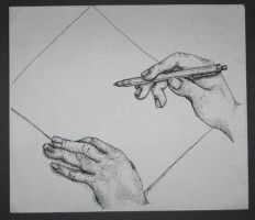 Hands working by Kunsthaus