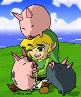 Wind Waker: Link and pigs by Paco-Mexicano