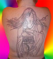 Giant Yuna Back Tattoo Phase 1 by MistyKat