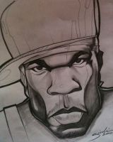 Rapper 50 Cent Drawing by KillerKreationsInc