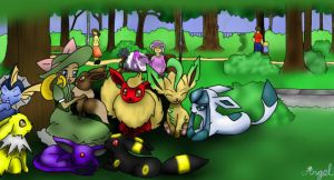 Eeveelutions At The Park by AngelTheAngeon