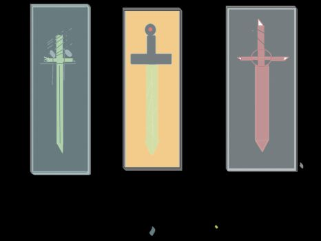 The swords: scarlet,demon blood and grass blade by Foxyrulesfnaf
