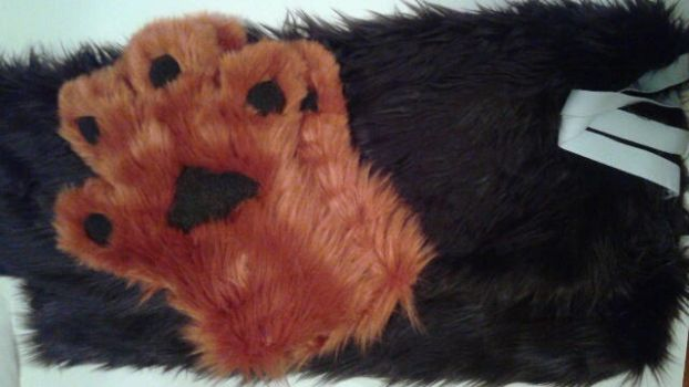Commissioned arm sleeves and hand paws. by OurMassHysteria