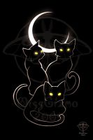 Witch Cats - Black and White by giz-art