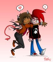 Demon Child and Skull-Boy Hug by skull-boy666