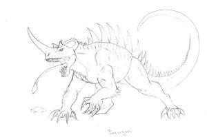 Kaiju sketch: Barugon by painted-wolfs-den