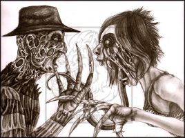 Freddy vs Weird _ Pencil by WeirdHyena
