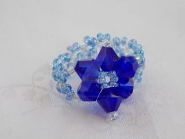 Blue bicone flower ring  411c by Quested-Creations