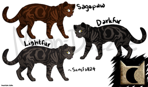 Lightfur, Darkfur, Sagepaw : MoonClan by little-space-ace
