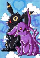 Umbreon and Espeon in Love by LuckyAngelausMexx