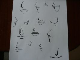 manga noses and mouths by BATEW