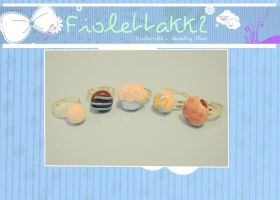 FIOLETTAKK2: SWEET polymer clay rings set by Fiolettakk2