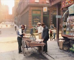 Colorized: Clam seller on Mulberry Bend, NY, 1900. by Mygrapefruit