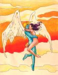 Archangel Psylocke midair embrace hand colors by SatyQ
