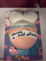 Baby Shower Belly Cake by greeneyes3675