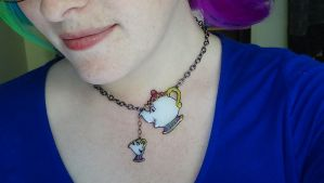Mrs. Potts and Chip Necklace by MsSweetSatisfaction